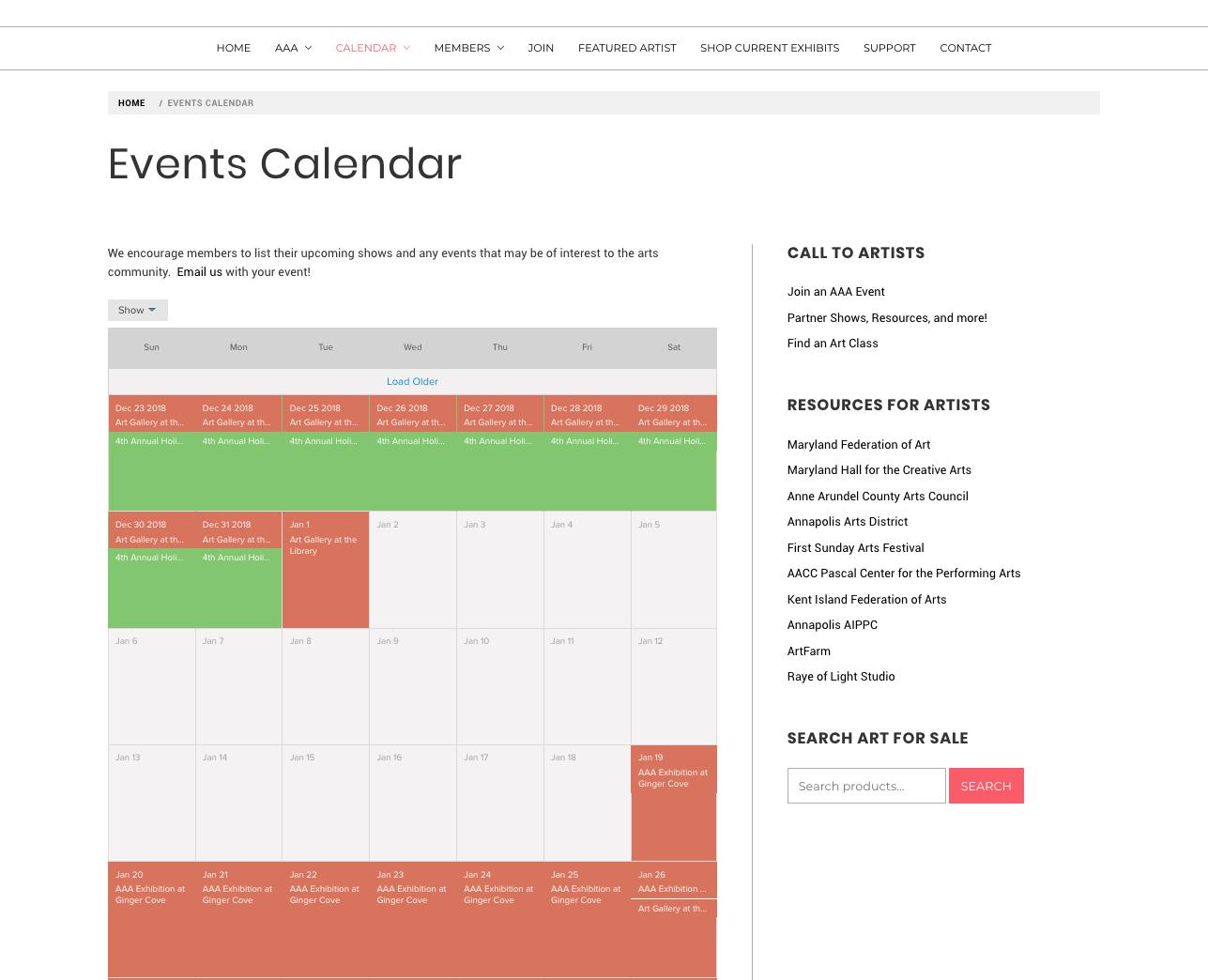 AAA Events Calendar