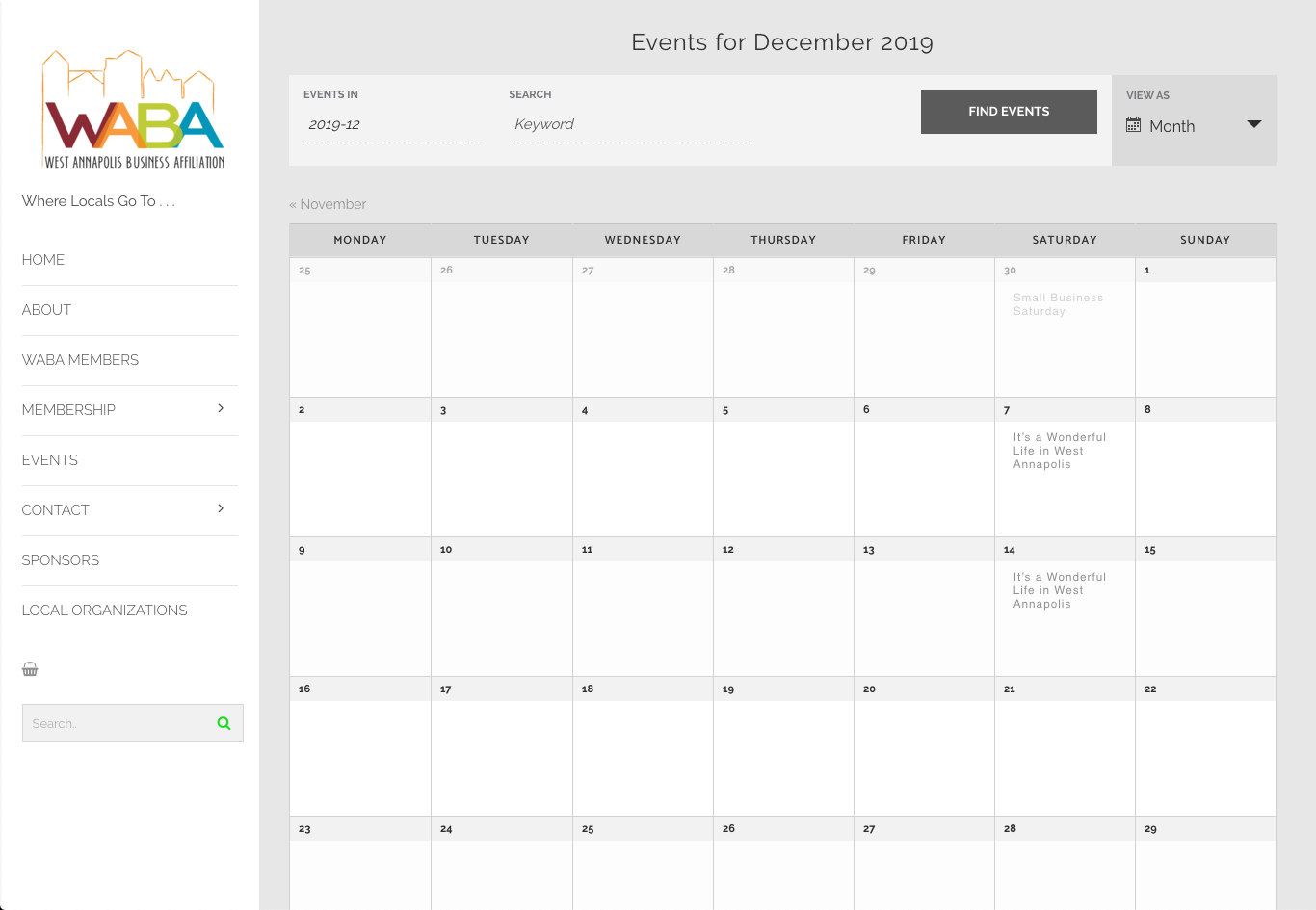 WABA Events Calendar